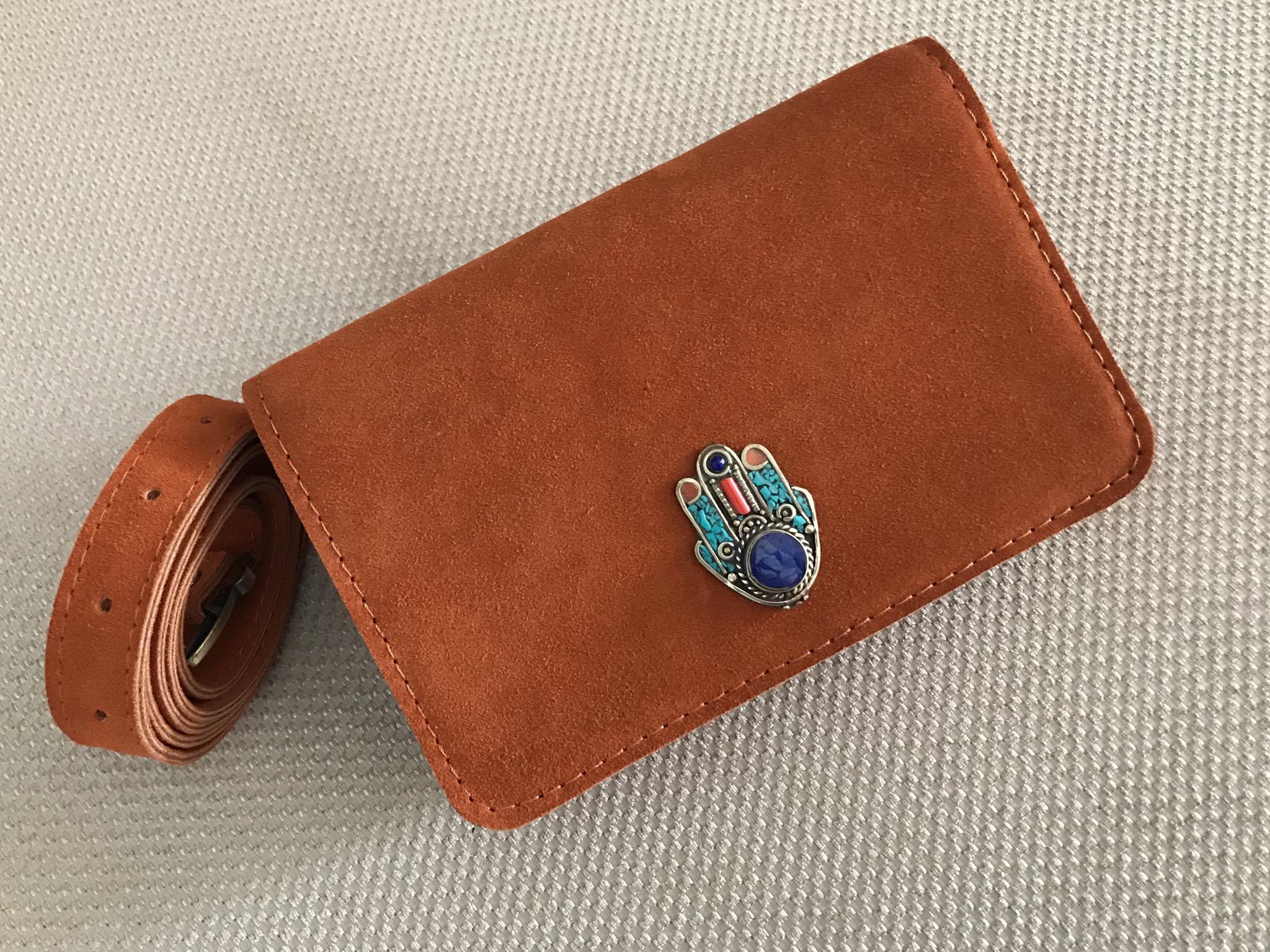 Belt Bag suedeleather orange with jewelry