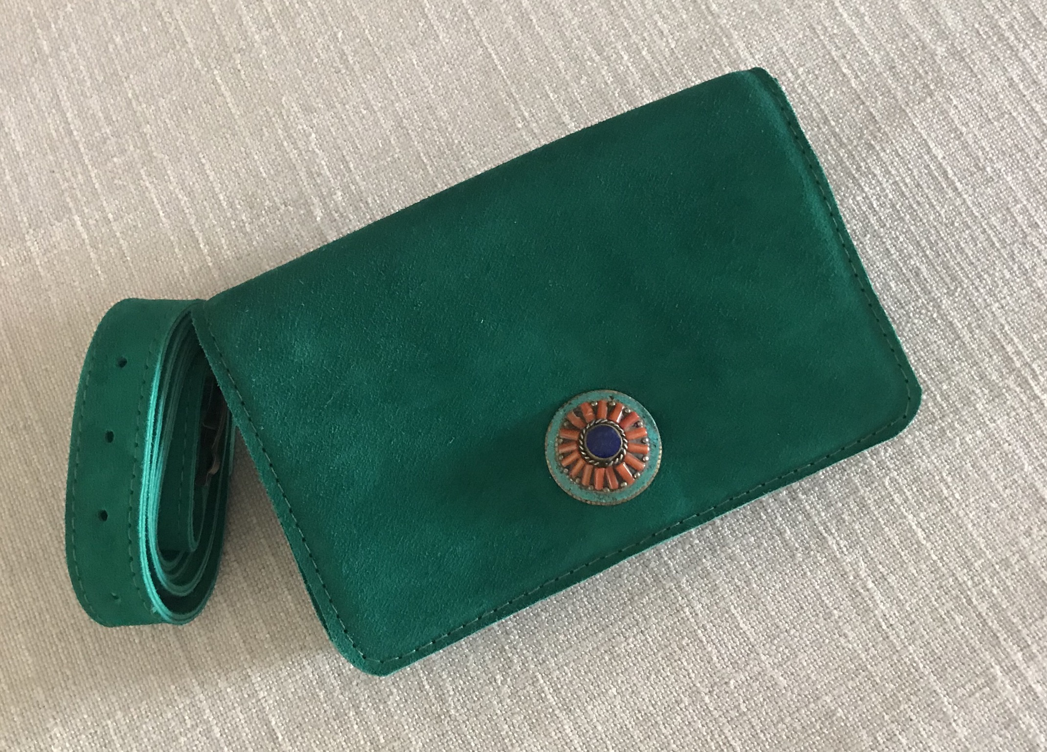 Belt Bag suede leather green with jewelry