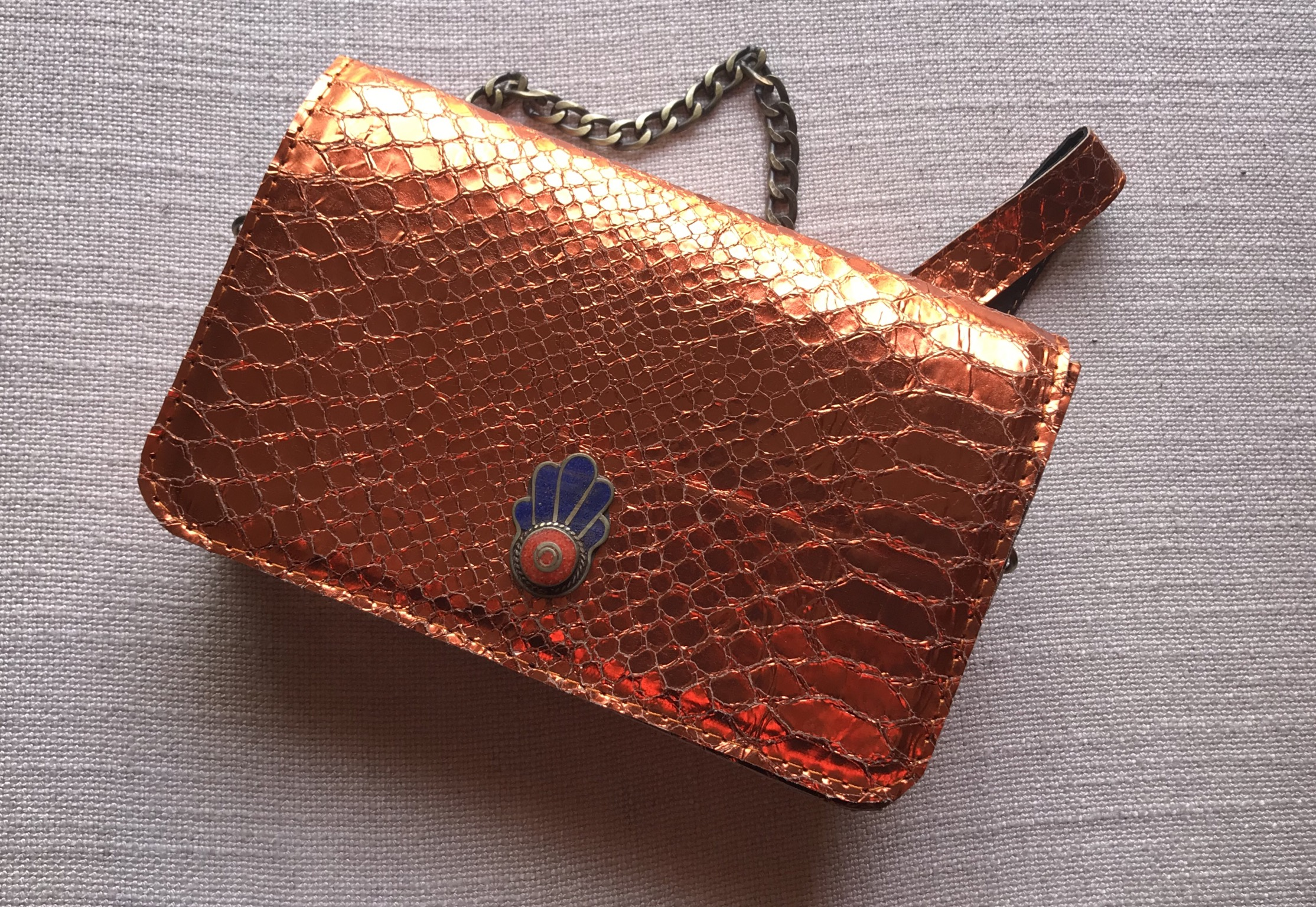 Jewelry bag leather croco orange metallic with jewelry