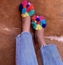 Sandals suede leather with pompons colorful