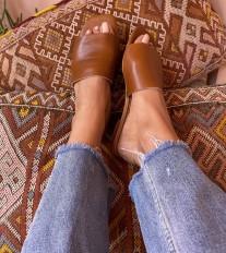 Sandals leather brown large bande
