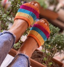 Sandals suede leather & leather colorful orange yellow turquoise fushia