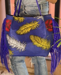 Tote bag African blue yellow white red with blue fringes