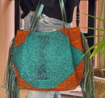 Tote bag African green orange black with green leather fringes