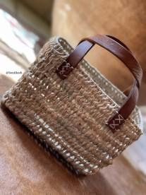 Basket bag mini with leather handle