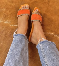 Sandals suede leather orange double strass