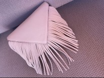 Bag leather medium size blanc cassé with fringes