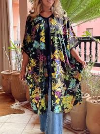 Kimono cotton flower print black green blue pink with black Sfifa