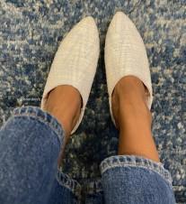Slippers cotton white light blue