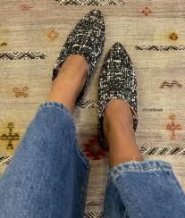 Slippers cotton black & beige