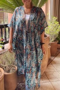 Kimono mousseline blue turquoise orange black