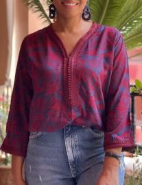 Tunique cotton burgundy blue with burgundy Sfifa aqadi et debbana