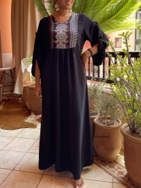 Dress tunic crepe black with crepe colorful blue black red