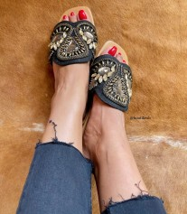 Sandals leather camel with black & champagne strass rhinestones
