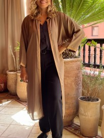 Kimono crêpe ton tabac Camel avec Sfifa et debbana manches