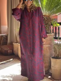 Djellaba cotton bleu bordeaux avec Sfifa aqadi et debbana bordeaux au col et aux manches
