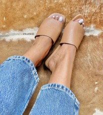 Sandals leather camel large band