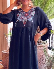 Tunic dress crepe black with crepe black blue red