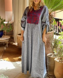Dress tunic linen with burgundy & blue crepe with col v