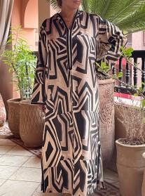 Djellaba lin beige noire avec Sfifa noire beige