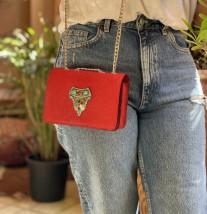 Bag jewelry leather caviar red with berber jewelry