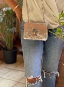 Bag jewelry leather craquelé silver with berber jewelry
