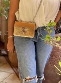 Bag jewelry leather gold with berber jewelry orange