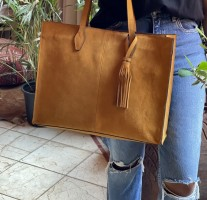 Bag holdall suede leather mustard