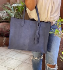 Bag holdall suede leather blue