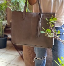 Bag holdall suede leather grey