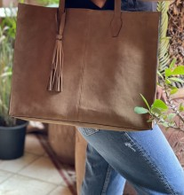 Bag holdall suede leather beige