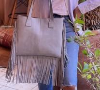 Bag suede leather light blue with fringes