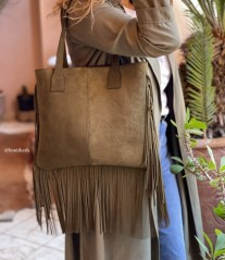 Bag suede leather green kaki with fringes