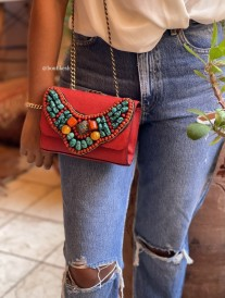 Bag leather caviar red with necklace with moroccan pearls