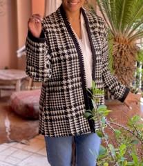 Jacket tweed pied de poule black & white with black aqadi