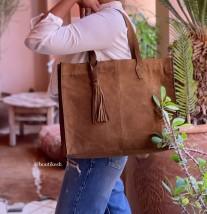 Bag holdall suede leather camel