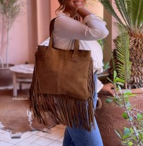 Bag suede leather camel with fringes