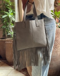 Bag suede leather grey with fringes