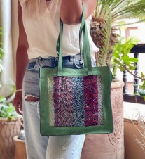 Bag suede leather & rug bag green & colorful