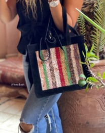Bag suede leather black with rug colorful
