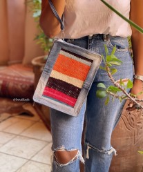 Purse Rug colorful black orange pink with jeans & handle