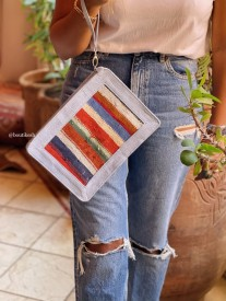 Purse Rug colorful blue red green burgundy with light jeans & handle