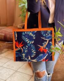 Tote bag velvet oiseau blue orange white with orange suede leather