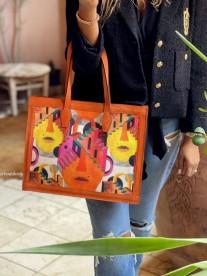 Tote bag in velvet & suede leather orange black & afcrican print