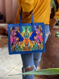 Tote bag in toile & suede leather blue painting print yellow blue green