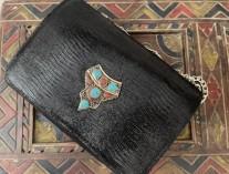 Bag jewelry leather black croco with artisanal jewelry