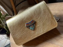 Bag jewelry leather gold with berber jewelry