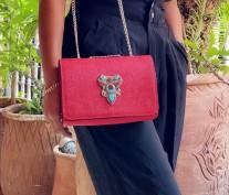Bag jewelry leather red caviar with berber jewelry