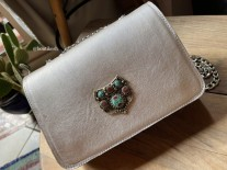 Bag jewelry leather mat silver with artisanal jewelry