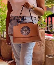 Bag leather camel medium size with khmissa & eye painted print green camel